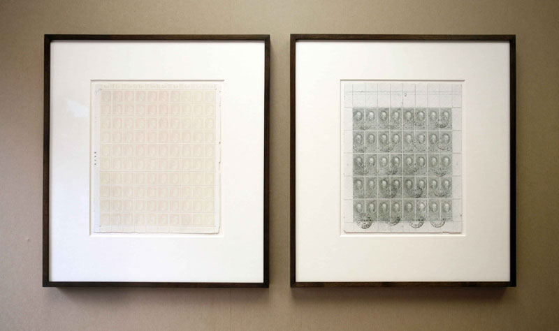 Benjamin Newton, '2828 (Hitler)' and '16-03-31 (Lenin)', 2010, Bleached stamps, 46.5x42cm