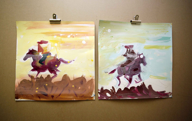 Susie Hamilton, 'Pony Express, sketches', 2010, Acrylic on paper, 38x38cm