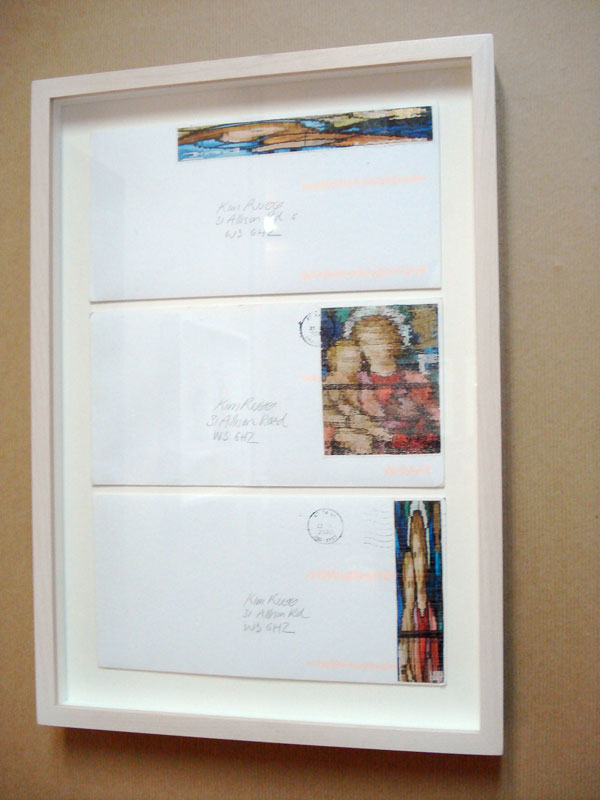 Kim Rugg, 'Large Angel, Tall Mama, Big Mama', 2010, 3 envelopes with stamps, 40.5 x 28.5cm