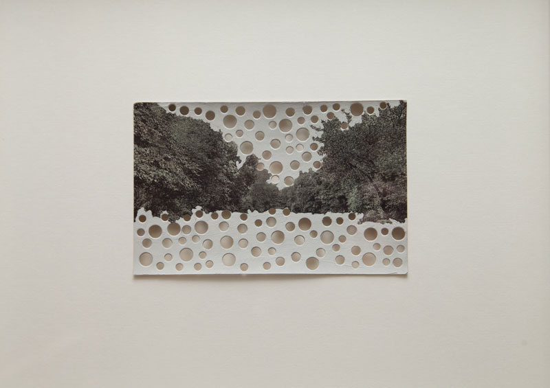 Rachel Whiteread, 'Victoria Park Bathing Lake, E8', 2010, Postcard with gouache and punched holes, 30 x 30 cm, framed